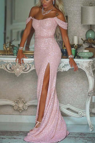 Shiny Pink Sequin Off the Shoulder Slit Mermaid Long Prom Dresses Formal Evening Dress LD2187