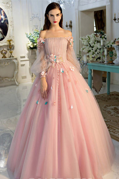 Sexy Ball Gown Long Sleeve Off the Shoulder Pink 3D Floral Prom Dresses Formal Evening Dress LD2188