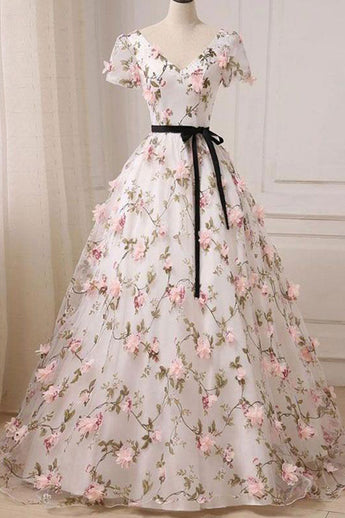 3D Floral Short Sleeves V Neck A Line Ivory Long Prom Dresses Formal Evening Gowns Dress LD2189