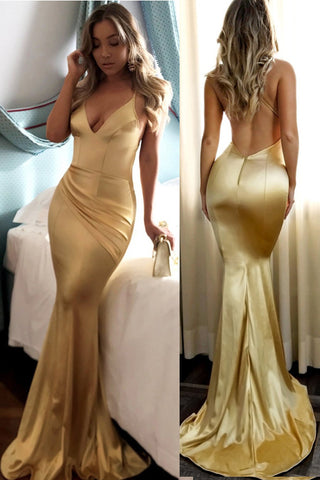 Chic Open Back Spaghetti Straps V Neck Mermaid Long Prom Dresses Formal Evening Dress LD2190