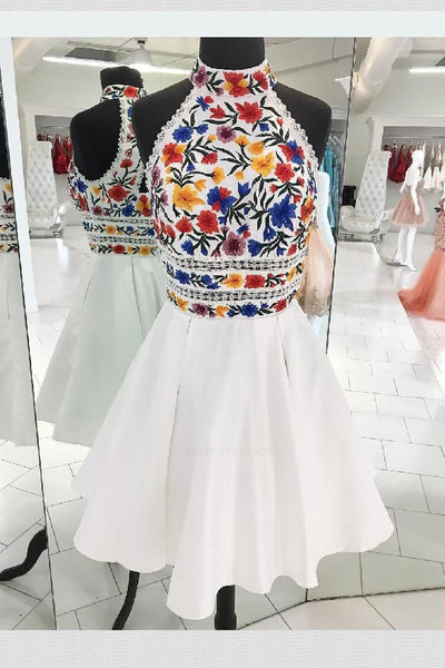 Charming High Neck Halter Embroidery White Short Prom Dress Homecoming Dresses Party Gowns LD2192