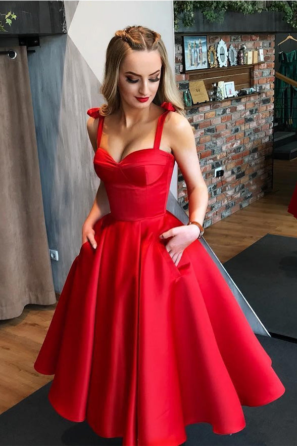 Tea Length Off the Shoulder Red Satin Pocket Prom Dress Homecoming Dresses Party Gowns LD2197