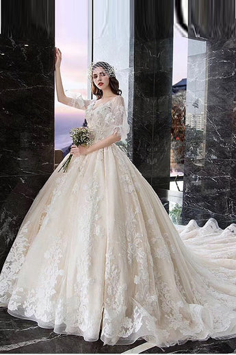 Luxurious Half Sleeves Cathedral Train Lace Backless Wedding Dresses Bridal Dress Gowns LD2199