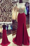 Open Back Mermaid Burgundy Slit Long Prom Dresses Evening Party Gowns  LD219