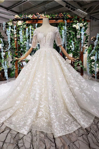 Luxurious Lace Half Sleeves Cathedral Train High Quality Wedding Dresses Bridal Dress Gowns LD2200