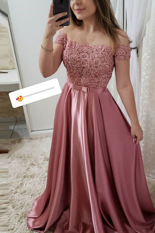 Fashion Off the Shoulder Short Sleeves Lace Beaded Long Prom Dresses Formal Evening Dress LD2201