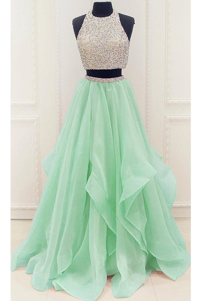Fashion Mint Organza Beaded Two Piece High Low Long Prom Dresses Formal Grad Evening Dress LD2202