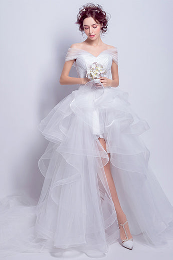 Chic Off the Shoulder High Low Front Short Long Back White Beach Wedding Dresses Bridal Dress LD2203