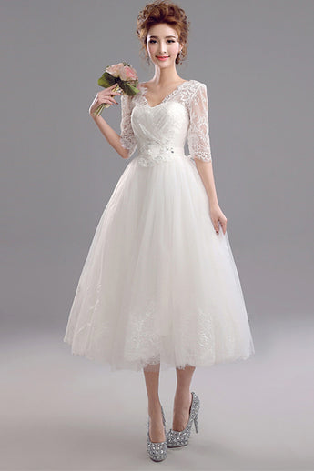 Charming Half Sleeves Ivory Lace Tea Length Beach Bridal Wedding Dreses Princess Prom Dress LD2206