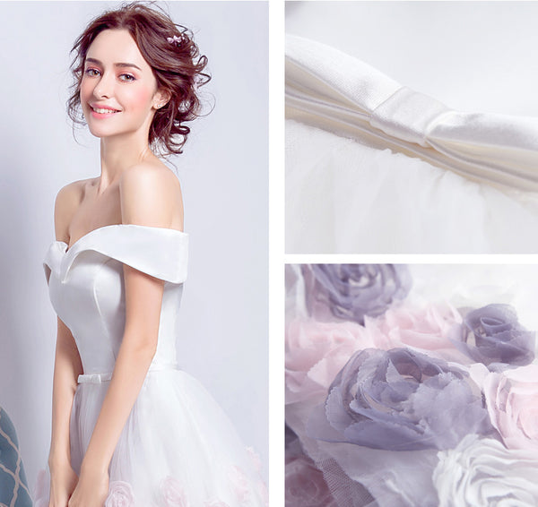 Off the Shoulder White Satin Hand Flower Knee Length Beach Bridal Wedding Dress Prom Dresses LD2209