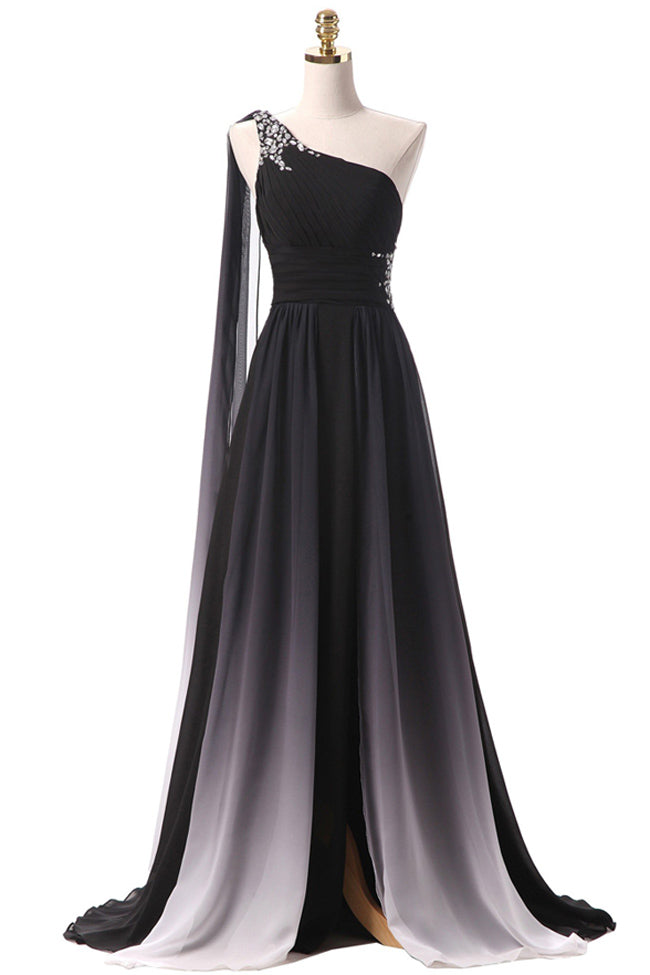 Black Ombre Chiffon One Shoulder Long Prom Dresses Formal Fancy Evening Bridesmaid Dress LD2211