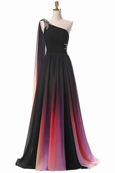 A Line One Shoulder Ombre Chiffon Open Back Long Prom Dresses Formal Fancy Evening Dress LD2212