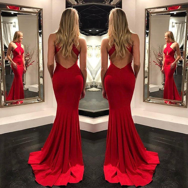 Sexy Red Open Back Mermaid Long Prom Dresses Formal Fancy Evening Dress For Party LD2213