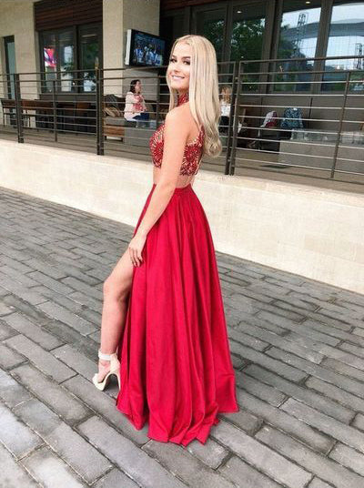 Two Piece Lace Red High Neck Split Long Prom Dresses Formal Fancy Evening Dress For Party LD2215