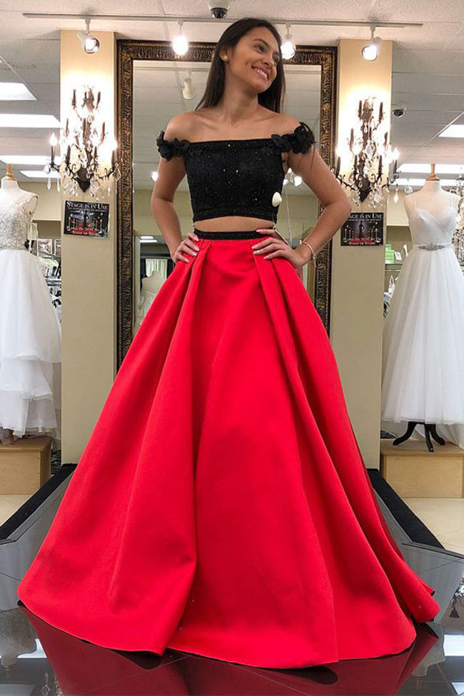 Two Piece Black Lace Red Satin Off the Shoulder Prom Dresses Formal Evening Dress Party Gowns LD2217