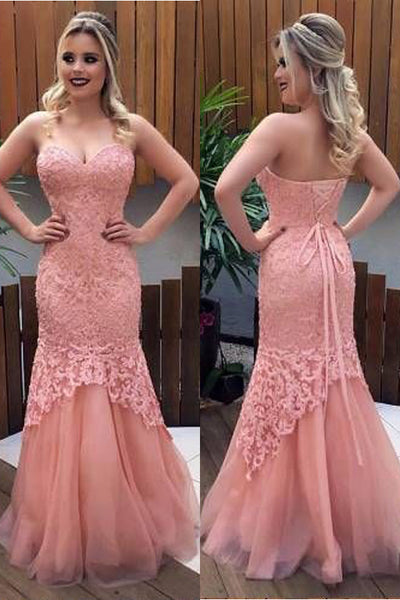 Fashion Strapless Lace Mermaid Long Prom Dresses Formal Evening Grad Dress For Party LD2219