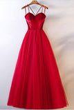 Spaghetti Straps Red Tulle Elegant Long Prom Dresses Formal Evening Dress Party Gowns LD2220