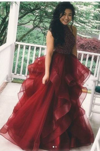 Open Back High Low Burgundy Tulle Beaded Prom Dresses Formal Evening Dress Party Gowns LD2221
