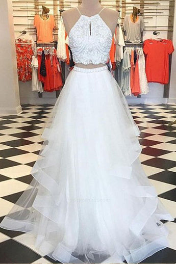 Two Piece High Low White Beaded Prom Dresses Formal Fancy Evening Dress Party Gowns LD2223