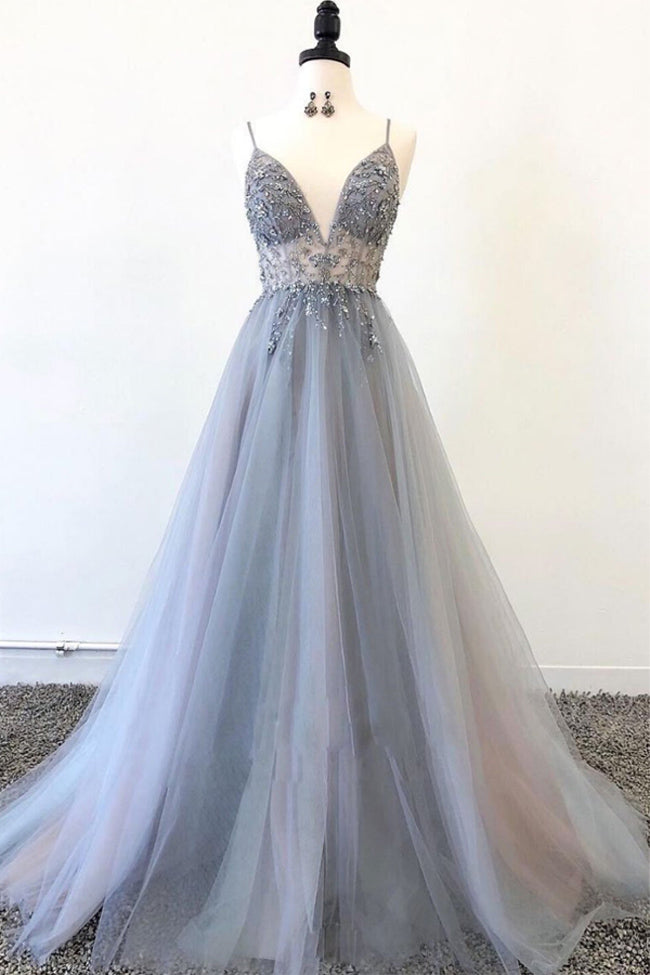 Fashion A Line V Neck Spaghetti Straps Beaded Tulle Long Prom Dresses Formal Evening Dress LD2224