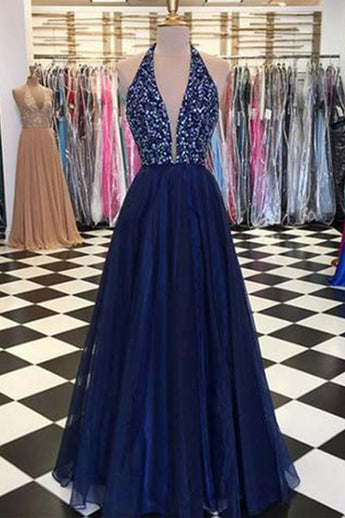 Navy Blue Tulle Halter Deep V Neck Beaded Long Prom Dresses Formal Fancy Evening Dress LD2224