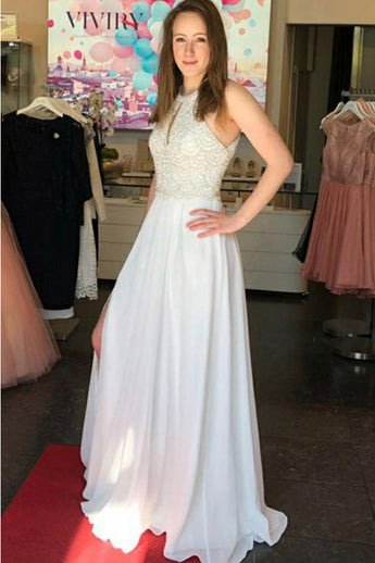 High Neck A Line White Chiffon Lace Long Prom Dresses Formal Evening Dress Party Gowns LD2226