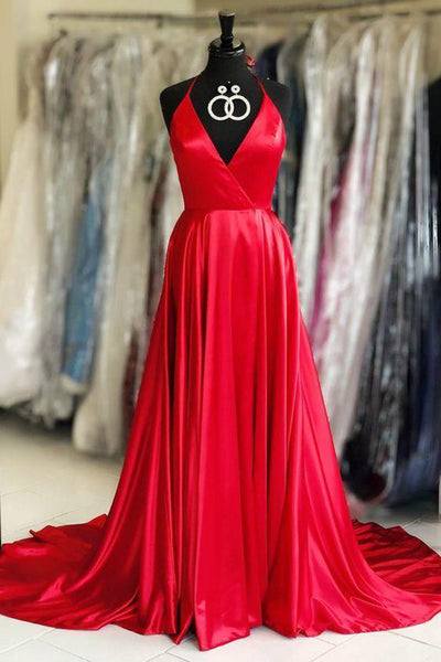 Simple Spaghetti Straps V Neck Red Satin Prom Dresses Formal Evening Dress Party Gown LD2227