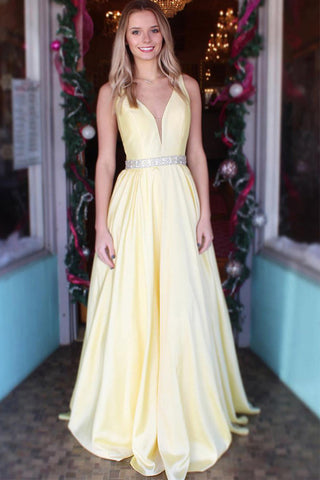 Daffodil Satin A Line V Neck Beaded Long Prom Dresses Formal Evening Dress Party Gown LD2228