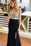Open Back Front Slit Pearls Black Mermaid Long Prom Dresses Formal Evening Dress For Party LD2229