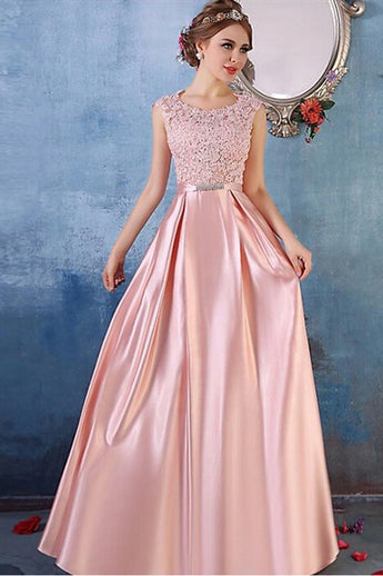 Fashion A Line Floor Length Satin Lace Pink Prom Dresses Formal Evening Dress For Party LD2230