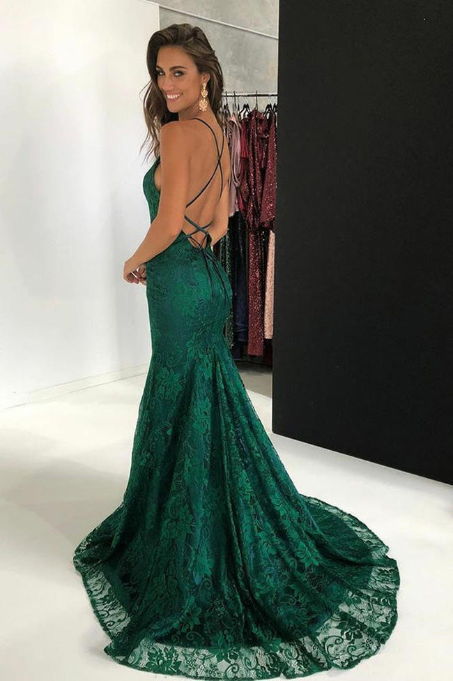Green Lace Open Back Spaghetti Straps Mermaid Prom Dresses Formal Evening Dress For Party LD2231