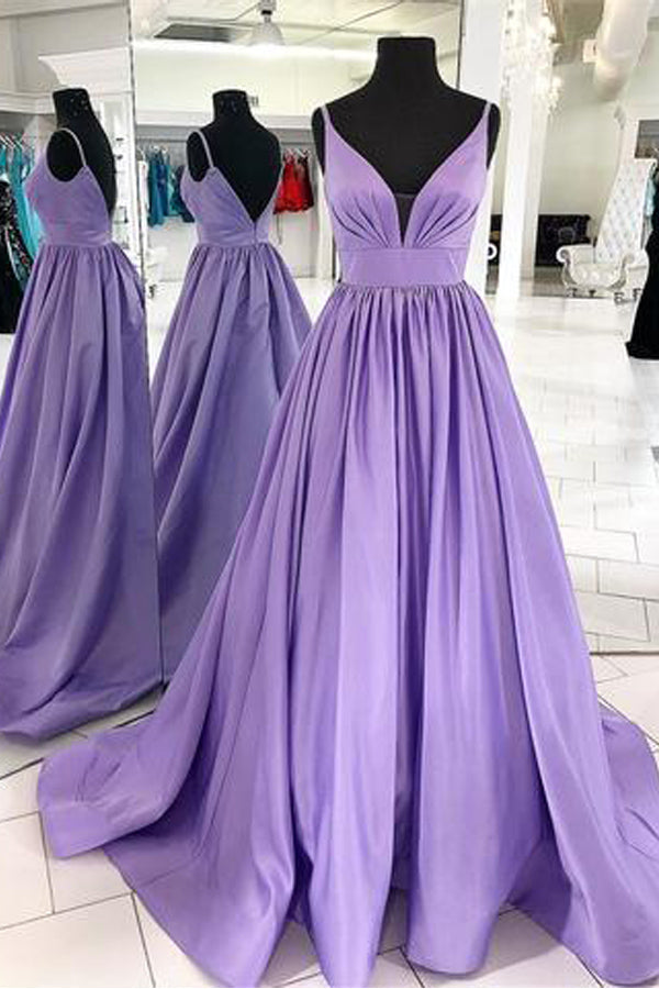 Elegant Spaghetti Straps Purple V Neck Backless Prom Dresses Formal Evening Dress Party Gown LD2232