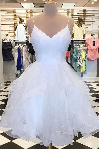 Spaghetti Straps White Tulle High Low Homecoming Dresses Short Prom Dress Party Gowns LD2233