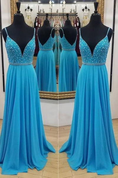 Spaghetti Straps V Neck Blue Chiffon Beaded Backless Long Prom Dresses Formal Evening Dress LD2235