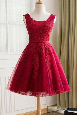 1edcc2603a2 Charming A Line Red Lace Tulle Homecoming Dresses Short Grad Prom Dress  Party Gowns LD2239