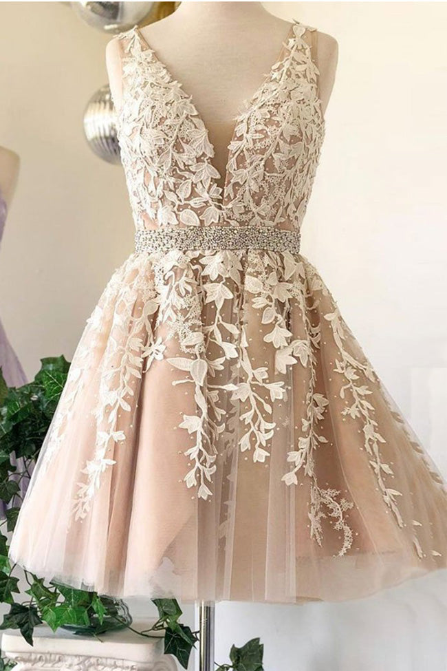 Deep V Neck Ivory Lace Appliques Beaded Short Prom Dress Formal Homecoming Dresses LD2241