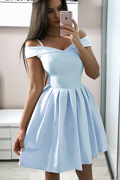Elegant Off the Shoulder Light Blue Cheap Homecoming Dresses Short Prom Dress Hoco Gowns LD2243