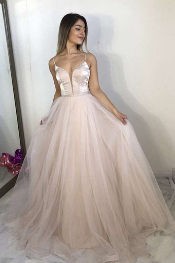 A Line Spaghetti Straps Deep V Neck Long Prom Dresses Formal Evening Gowns Dress LD2246