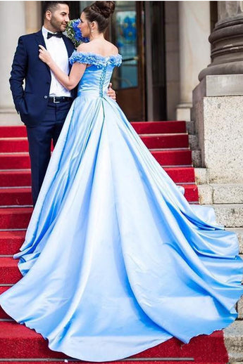Fashion Hand Flowers Off the Shoulder Blue Satin Prom Dresses Formal Evening Gown Dress LD2247
