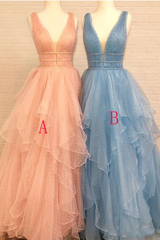 Fashion Deep V Neck High Low Tiered Skirt Beaded Prom Dresses Formal Evening Dress LD2251