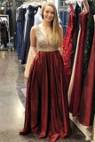 Fashion A Line Burgundy Beaded V Neck Prom Dresses Formal Evening Dress With Pocket LD2252