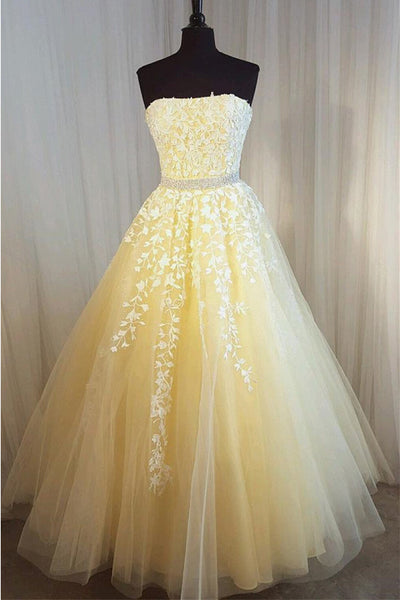 Ball Gown Strapless Lace Appliques Yellow Long Prom Dresses Formal Evening Grad Dress LD2253