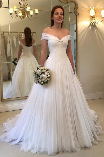 A Line Princess Off the Shoulder Ball Gown White Beach Wedding Dresses Bridal Dress LD2254