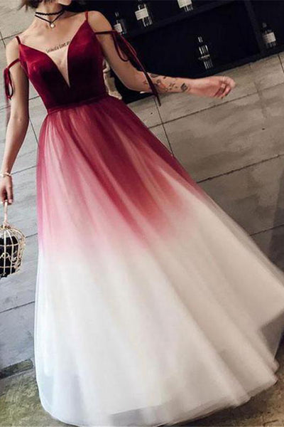 Fashion Burgundy Ombre V Neck Off the Shoulder Long Prom Dresses Formal Evening Grad Dress LD2255