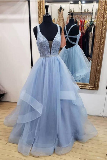 High Low Tiered Deep V Neck Blue Backless Prom Dresses Formal Evening Gowns Grad Dress LD2256
