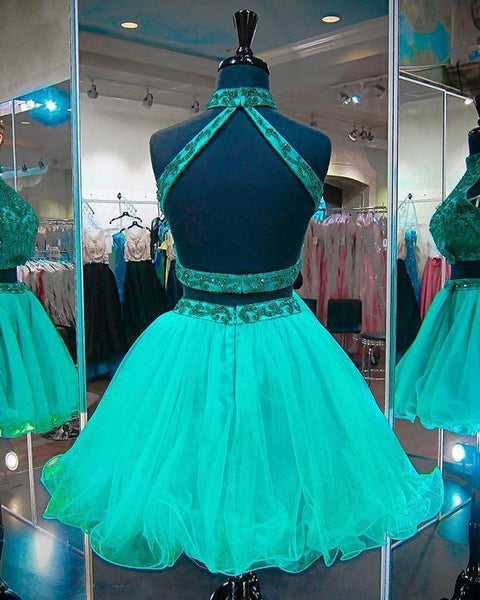 Two Piece Green Tulle Backless High Neck Homecoming Dresses Short Prom Dress Hoco Gowns LD2261