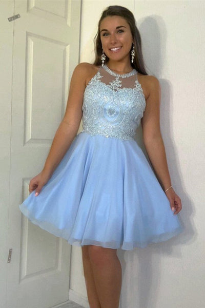 Fashion High Neck Lace Appliques Backless Homecoming Dresses Short Prom Dress Hoco Gowns LD2262
