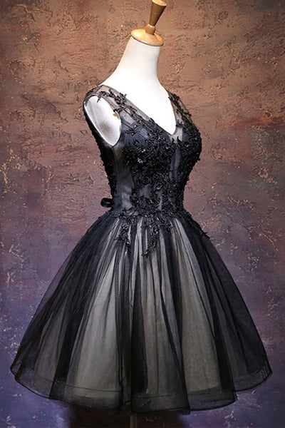 Chic Black Lace Appliques V Neck Mini Length Prom Dress Homecoming Dresses Cocktail Gowns LD2263