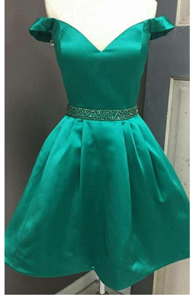 Simple Off the Shoulder Green Satin Cheap Homecoming Dresses Short Prom Dress Cocktail Gowns LD2266