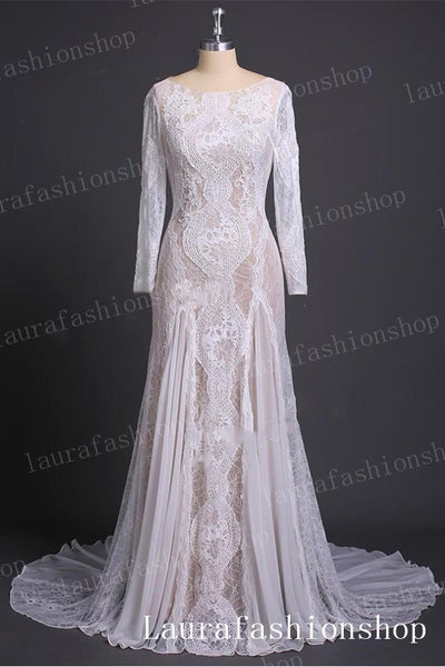 Chic Long Sleeves White Lace Chiffon Sheath Back-V Beach Wedding Dresses Bridal Dress LD2267